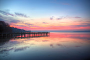 Fishing Pier Prints - Into the Chesapeake  Print by JC Findley