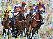 Kentucky Derby Mixed Media Prints - Into the final Turn Print by Michael Lee