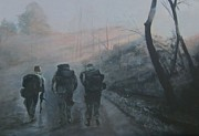Army Paintings - Into The Fog by Paula Pagliughi