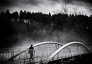 Doubt; Prints - Into the future - Woman crossing bridge Print by Matthias Hauser