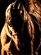 Negative Pyrography Posters - Into the Light Poster by Paper Horses Jacquelynn Adamek