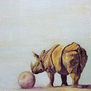 One Horned Rhino Painting Prints - Into the Light Stefan Print by Sarah Soward