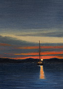Trawler Painting Posters - Into the Night Poster by Gordon Beck