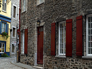 French Doors Digital Art Prints - Into The Past - Old Quebec City Print by Val Brackenridge