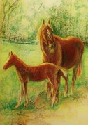 Rust Pastels Posters - Into The Pasture Poster by Denise Fulmer