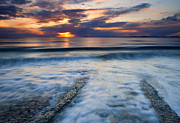Sunset Seascape Posters - Into the Sea Poster by Mike  Dawson