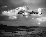 B-25 Bomber Posters - Into The Storm Poster by Arne Hansen