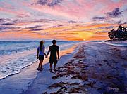 Couples Painting Prints - Into the Sunset Print by Mary Giacomini