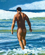 Nude Man Painting Prints - Into the Surf Print by Douglas Simonson