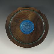 Handmade Sculptures - Into the Vortex Handmade Wood and Stone Wall Charger by Debra Breton