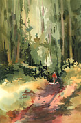 Watercolor Figure Painting Prints - Into the Wild Print by Kris Parins