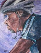 Bicycling Paintings - Into The Wind by Jon Schaubhut