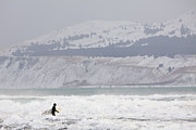 Into The Winter Surf Print by Tim Grams