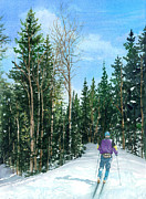 Cross-country Skiing Paintings - Into the Woods by Barbara Jewell