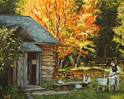 Shed Painting Prints - Into the woods Print by Veny Arsenov