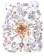 Regina Valluzzi Metal Prints - Intracellular Diversion Metal Print by Regina Valluzzi