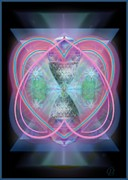 Merging Digital Art Framed Prints - Intwined Hearts Chalice Enveloping Orbs Vortex Fired Framed Print by Christopher Pringer