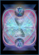 Merging Digital Art Prints - Intwined Hearts Chalice Shimmering Turquoise Vortexes Print by Christopher Pringer