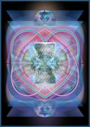 Merging Digital Art Prints - Intwined Hearts Chalice Wings of Vortexes Radiant Deep Synthesis Print by Christopher Pringer
