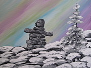 Winter Prints Posters - Inukshuk-Aurora Borealis-painting Poster by Beverly Livingstone
