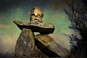 Gloomy Mixed Media Posters - Inukshuk I Poster by Peggy Collins