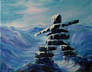 Pole Painting Prints - Inukshuk My Northern Compass Print by Joanne Smoley
