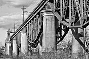 City Of Bridges Photo Framed Prints - Inverted BW Framed Print by JC Findley