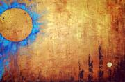 Blue Abstract Art Painting Originals - Invisible Blue Sun by Sharon Cummings