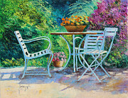 Garden Chair Framed Prints - Invitation to the Garden Framed Print by Jean-Marc Janiaczyk