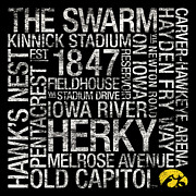 Vintage Signs Art - Iowa College Colors Subway Art by Replay Photos