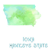 Abstract Map Mixed Media - Iowa - Hawkeye State - Map - State Phrase - Geology by Andee Photography