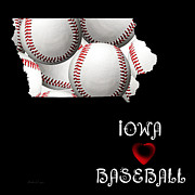 Abstract Map Posters - Iowa Loves Baseball Poster by Andee Photography