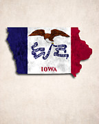 World Map Canvas Digital Art Prints - Iowa Map Art with Flag Design Print by World Art Prints And Designs