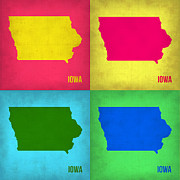 Iowa City Framed Prints - Iowa Pop Art Map 1 Framed Print by Irina  March