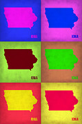 Iowa Prints - Iowa Pop Art Map 2 Print by Irina  March