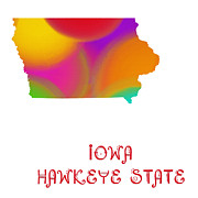 Abstract Map Prints - Iowa State Map Collection 2 Print by Andee Photography