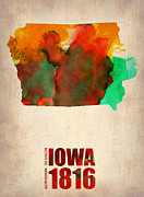 Us State Map Framed Prints - Iowa Watercolor Map Framed Print by Irina  March