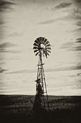 Country Dirt Roads Metal Prints - Iowa Windmill In a Corn Field Metal Print by Wilma  Birdwell
