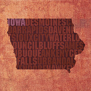 Canvas Mixed Media - Iowa Word Art State Map on Canvas by Design Turnpike
