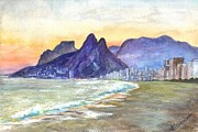 South Pacific Drawings Prints - Ipanema Beach Sunset  Rio DeJaneiro  Brazil Print by Carol Wisniewski