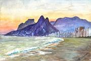 Ipanema Beach Sunset Rio Dejaneiro  Brazil Print by Carol Wisniewski