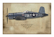 Side View Digital Art Prints - Ira Kepford F4U Corsair - Map Background Print by Craig Tinder