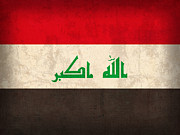 Iraq Flag Vintage Distressed Finish Print by Design Turnpike
