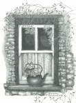 Panel Drawings Metal Prints - Ireland Cottage Window Metal Print by Sharon Blanchard