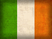 Irish Art - Ireland Flag Vintage Distressed Finish by Design Turnpike