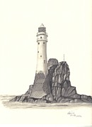 Lighthouse Drawings - Ireland Lighthouse by Patricia Hiltz