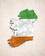 Ireland Map Digital Art - Ireland Map Art with Flag Design by World Art Prints And Designs