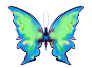 Iridescent Painting Posters - Iridescent Blue and Green Butterfly Poster by Maureen Kealy