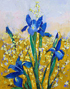 Fragrant Painting Framed Prints - Iris and Forsythia Framed Print by Michael Creese
