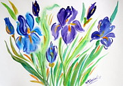 Flora Drawings Prints - Iris and Iris for You Print by Roberto Gagliardi